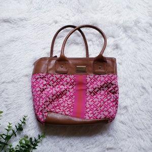 🛍Tommy hilfiger pink and brown logo satchel purse